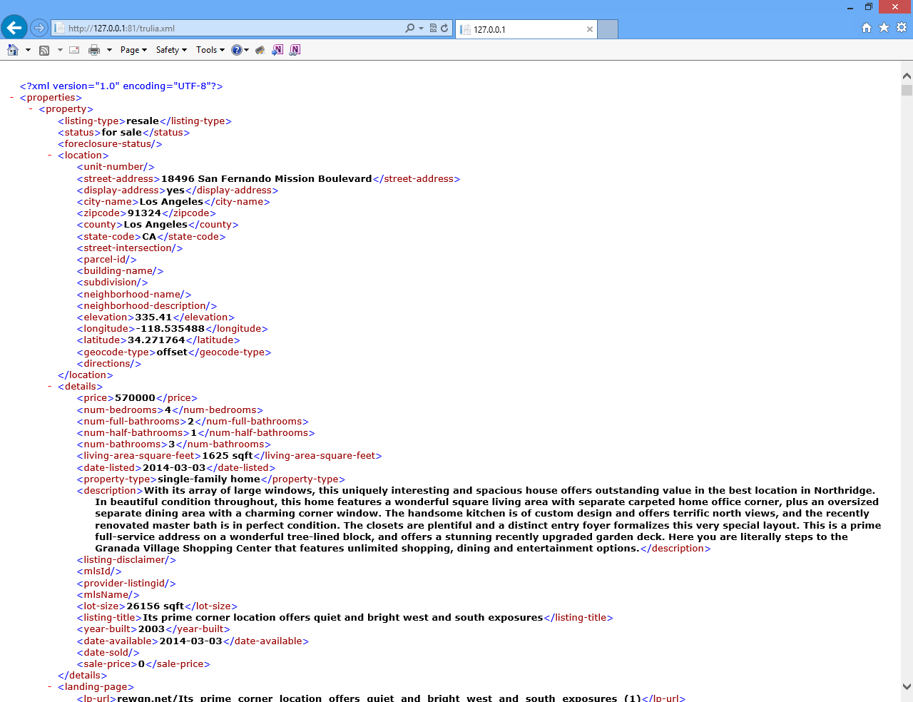 A screenshot of the Trulia XML feed in the Boötes Real Estate Listing Management System