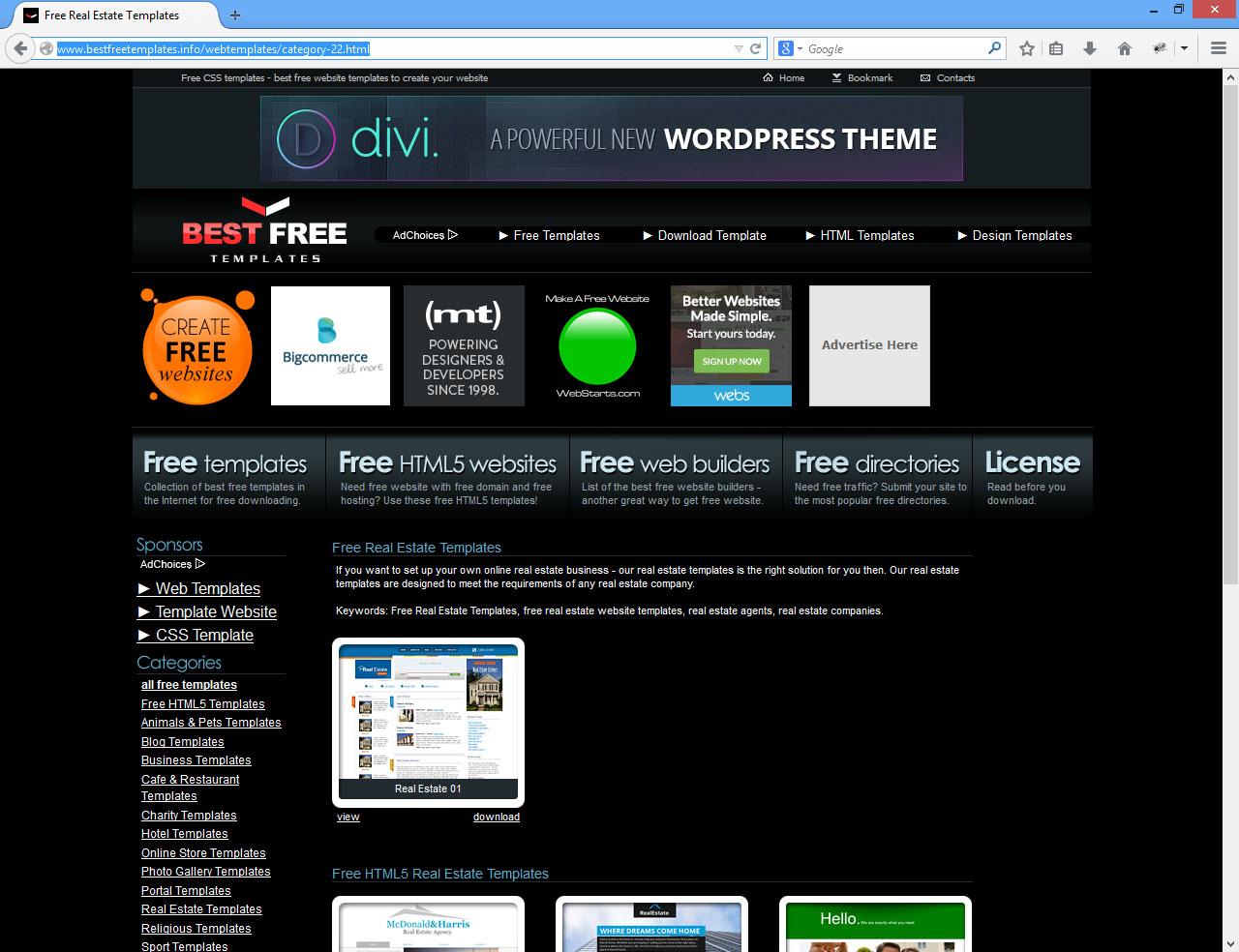 Página de best free templates