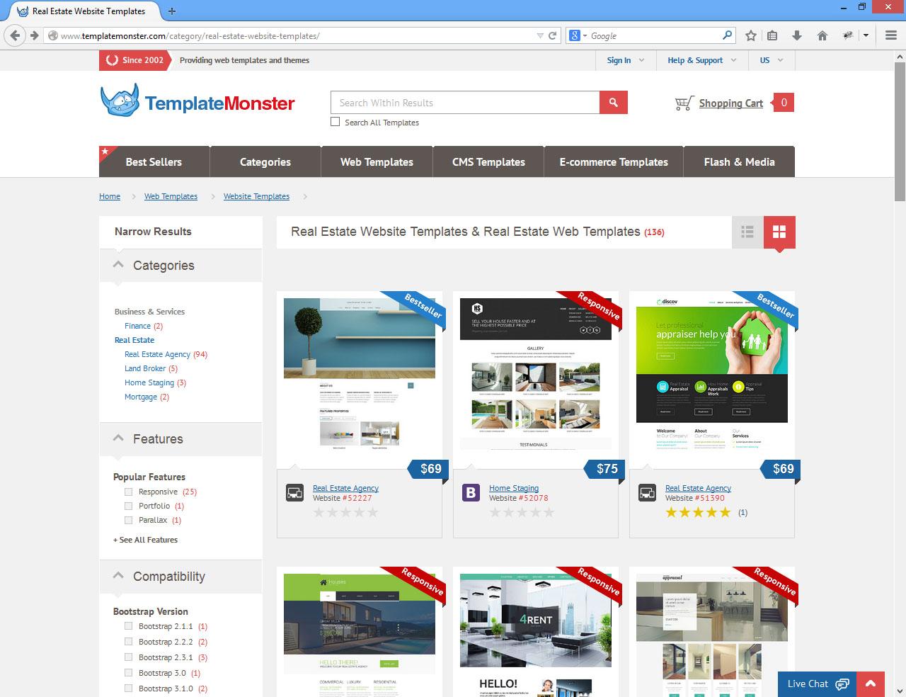 Página de Busqueda de templatemonster.com
