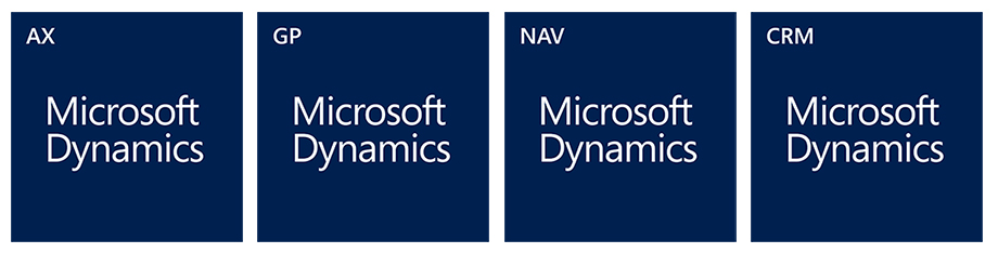 Microsoft Dynamics AX, GP, NAV and CRM