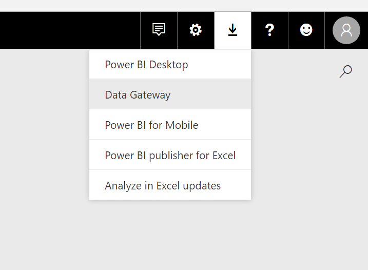Menu option for downloading the Power BI Data Gateway