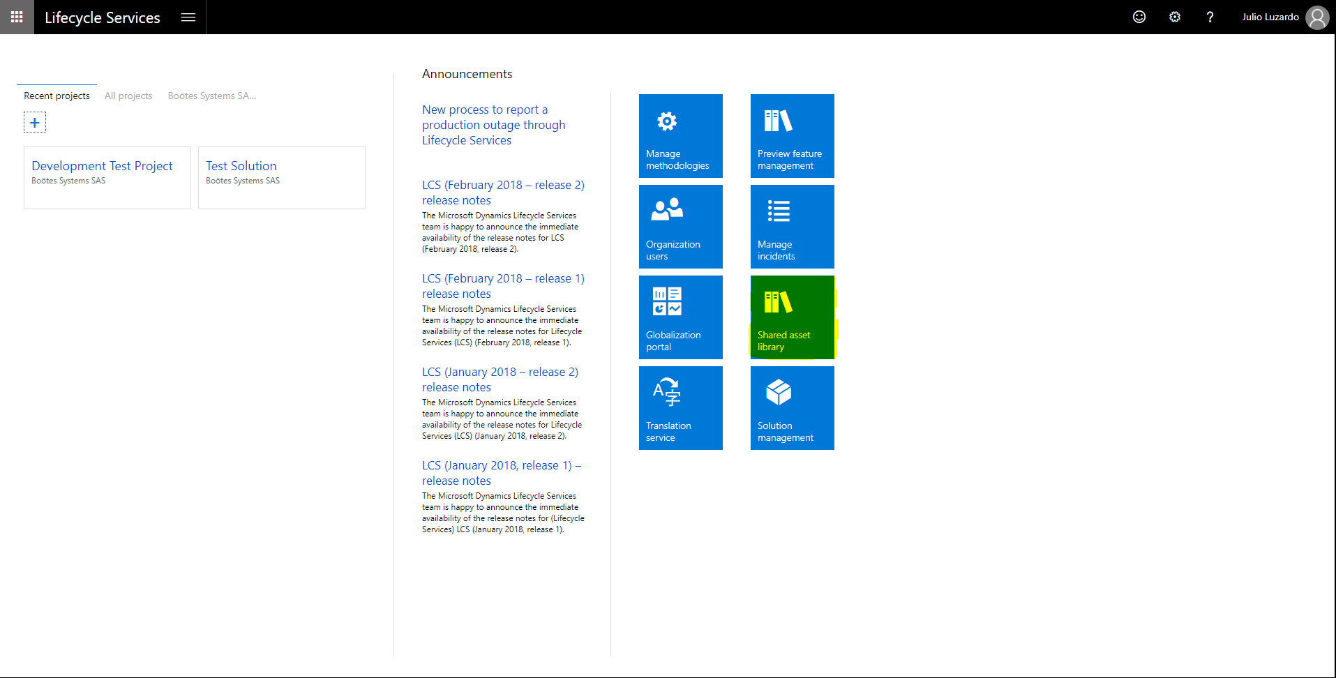 Microsoft Dynamics Lifecycle Services Shared Asset Library
