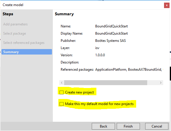 Summary Create Model - Boötes AX7 Bound Grid Control - Dynamics 365 for Finance and Operations