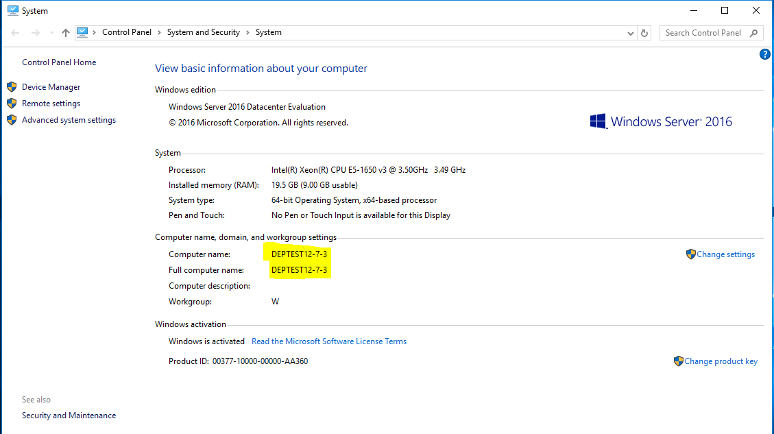 Machine name windows