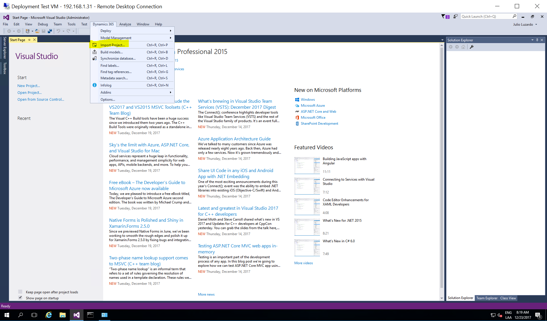 Visual Studio - Import Dynamics 365 for Finance and Operations Project