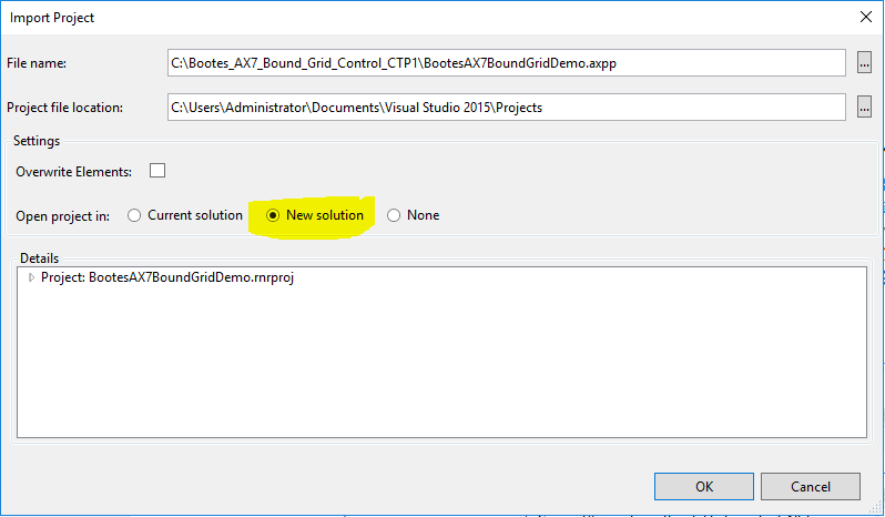 Visual Studio - Import the project into a new solution