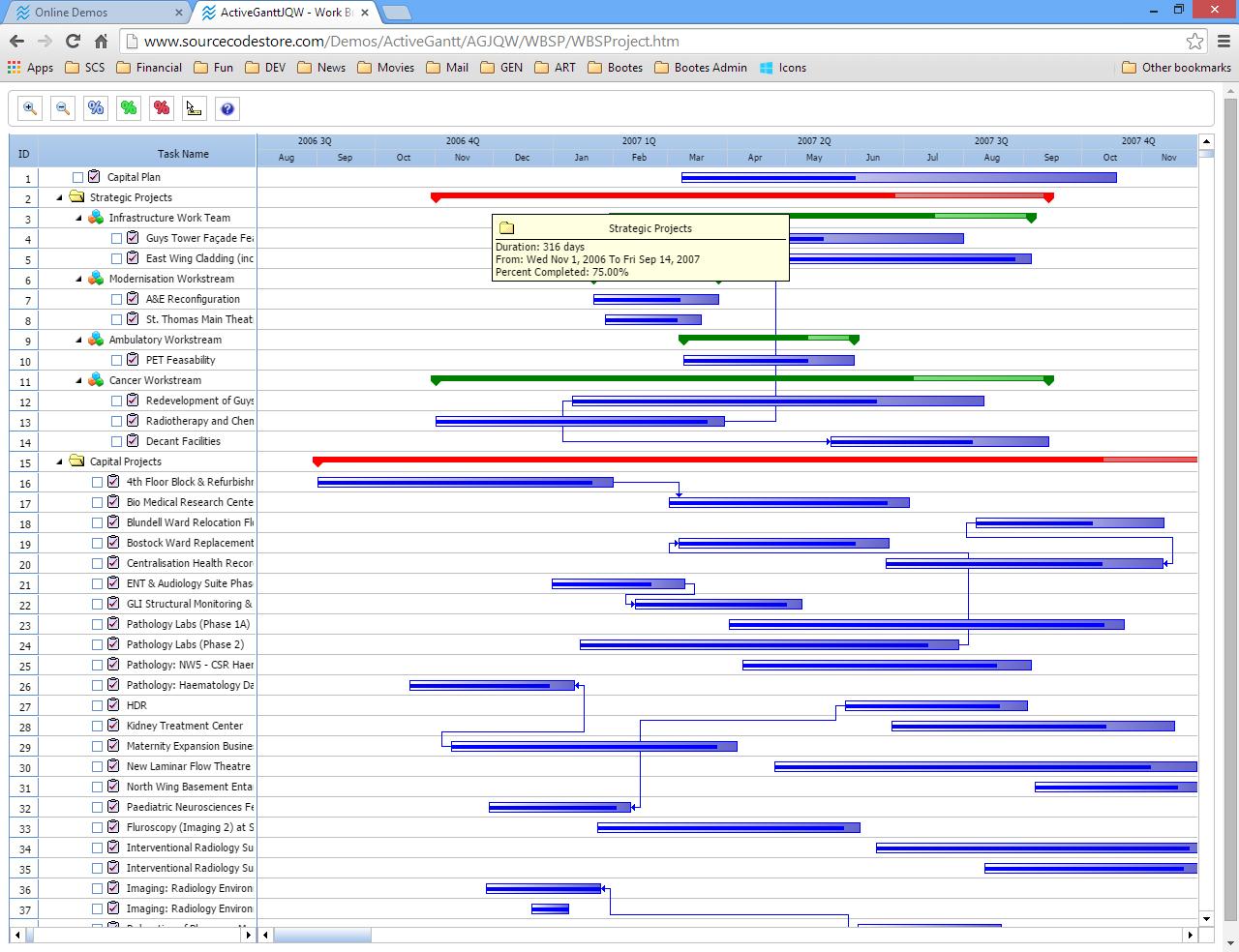 Captura de Pantalla del ejemplo de Estructura de descomposición del trabajo de ActiveGanttJQW