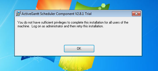 You do not have sufficient privileges to complete this installation for all users of the machine. Log on as administrator and then retry this installation.